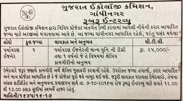 Gujarat Ecology Commission Recruitment 2016