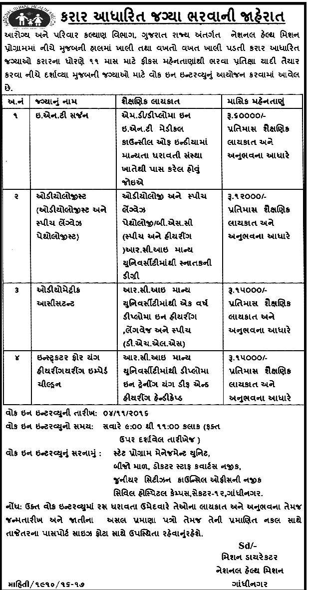 Gujarat Health and Family Welfare Department Recruitment 2016 for Various Medical Posts