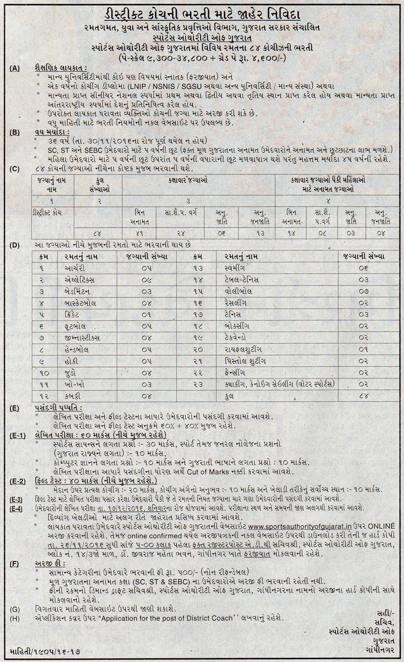 sports authority of gujarat recruitment 84 posts how to apply interested candidates apply for government job notifications online sportsauthorityofgujarat in and apply on or before 26