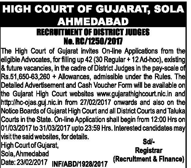 ojas online application gujarat high court