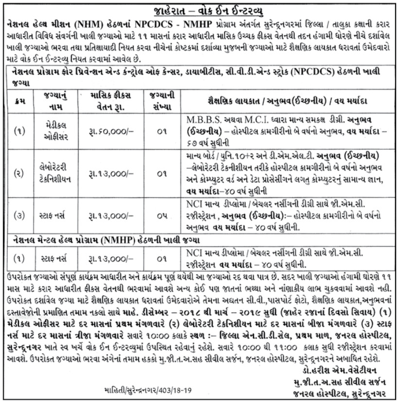 NHM Surendranagar Recruitment for Staff Nurse, Laboratory