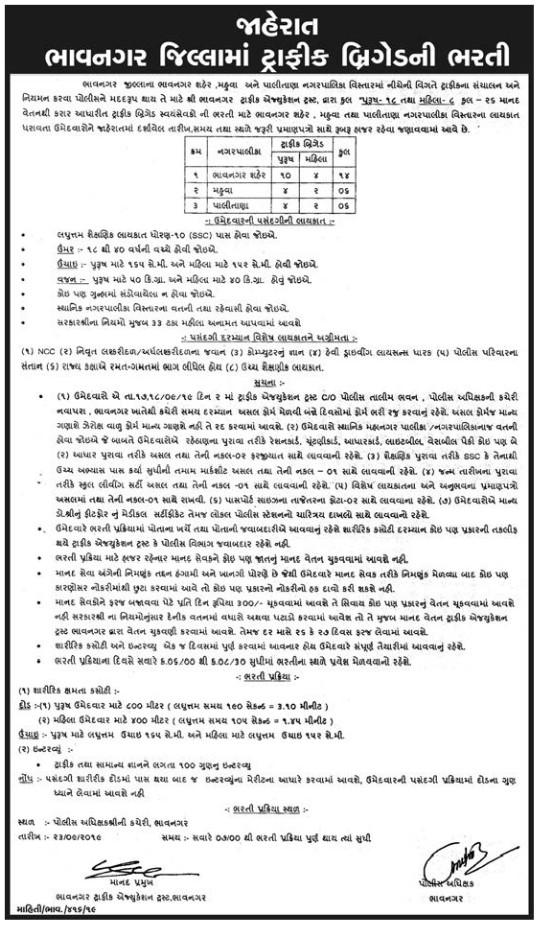 Bhavnagar District Traffic Brigade Male & Female (Volunteer) Recruitment 2019