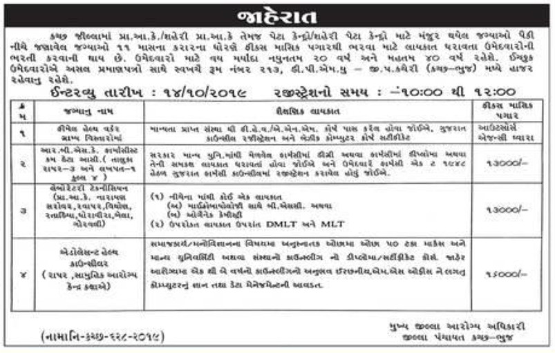 District Panchayat Bhuj Recruitment for FHW, Lab Technician & Other Posts 2019