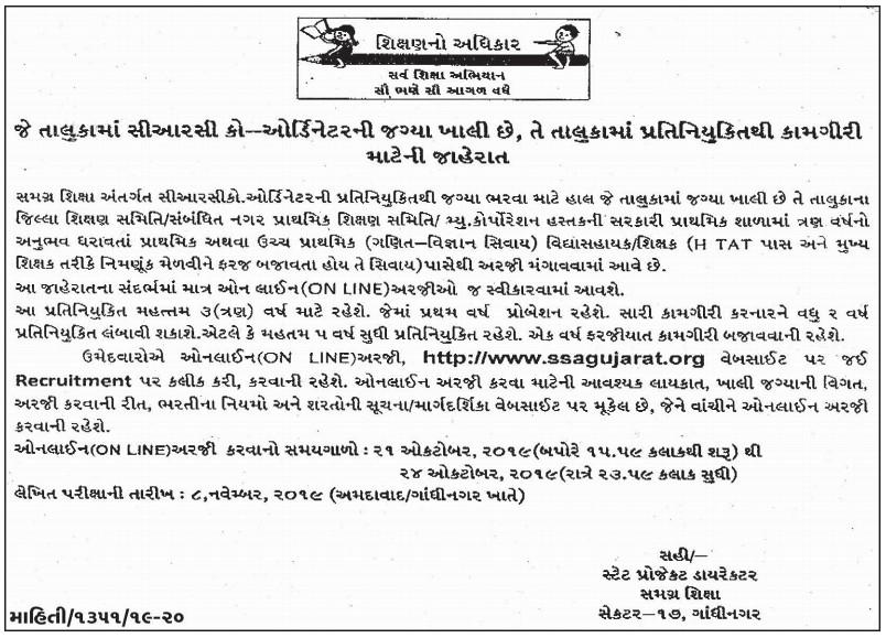 SSA Gujarat CRC Coordinator Recruitment 2019