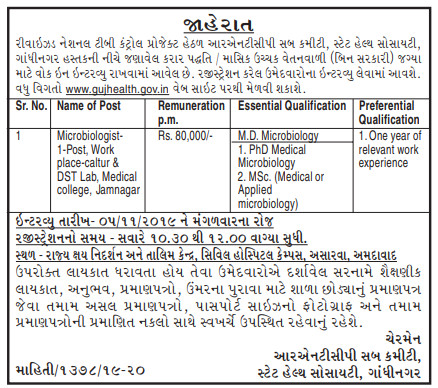 RNTCP Gandhinagar Recruitment for Microbiologist Post 2019