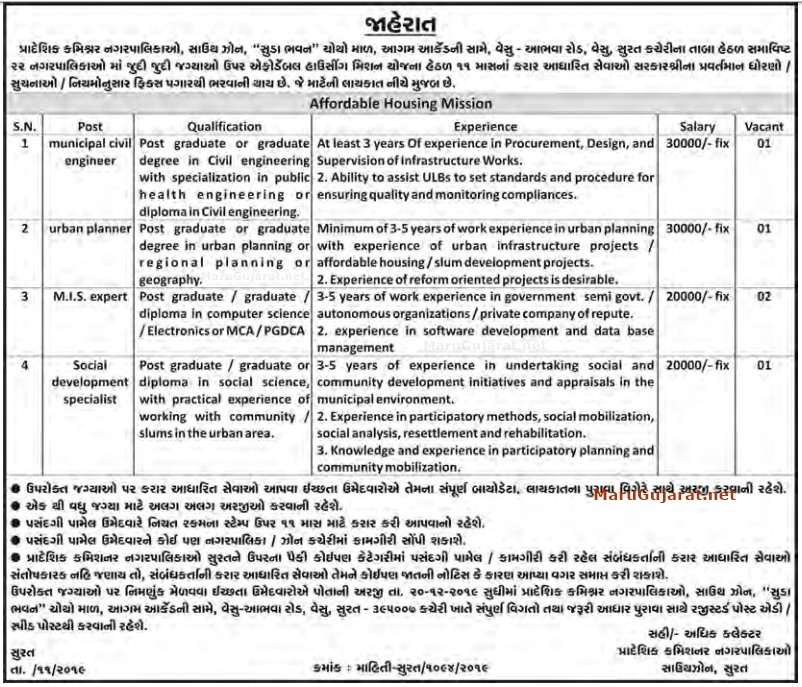 Regional Commissioner Municipality, Surat Recruitment for Various Posts 2019