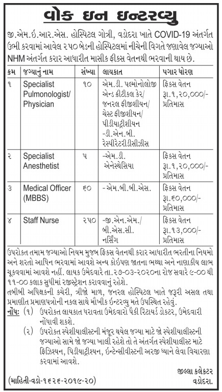 GMERS Vadodara Recruitment for 325 Specialist, Medical Officer & Staff Nurse Posts 2020