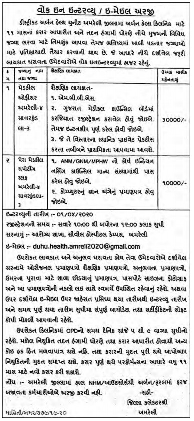 DUHU Amreli Recruitment for Medical Officer & Paramedical Supporting Staff Posts 2020