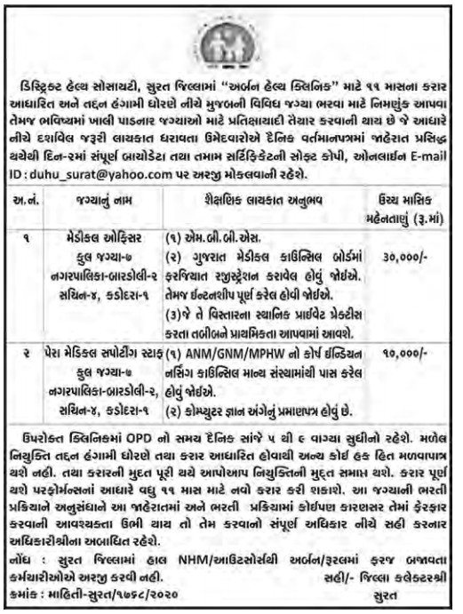 District Health Society, Surat Recruitment for Medical Officer & Paramedical Supporting Staff Posts 2020