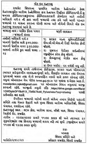 District Panchayat, Rajkot Has Published An Advertisement For Medical Officer 2020.