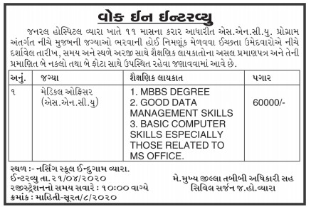 General Hospital, Vyara Has Published An Advertisement For  Medical Officer (SNCU) 2020.
